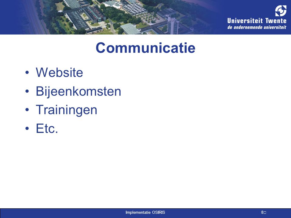 Communicatie Website Bijeenkomsten Trainingen Etc.
