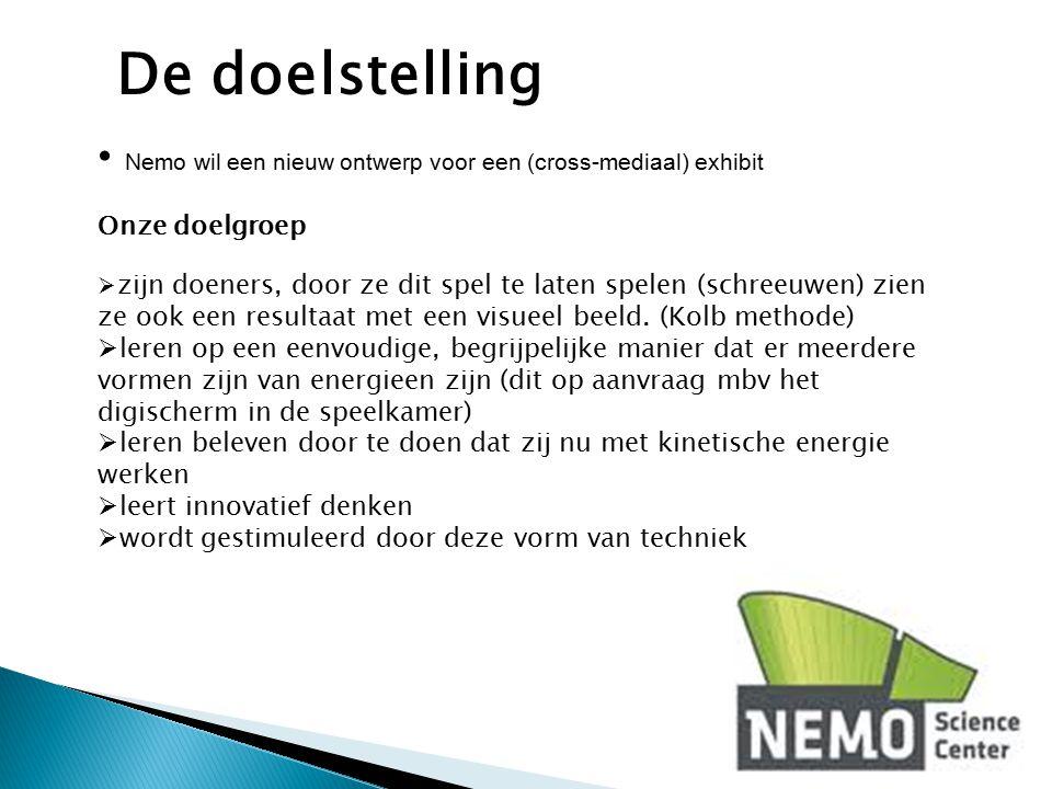 De doelstelling Nemo wil een nieuw ontwerp voor een (cross-mediaal) exhibit. Onze doelgroep.