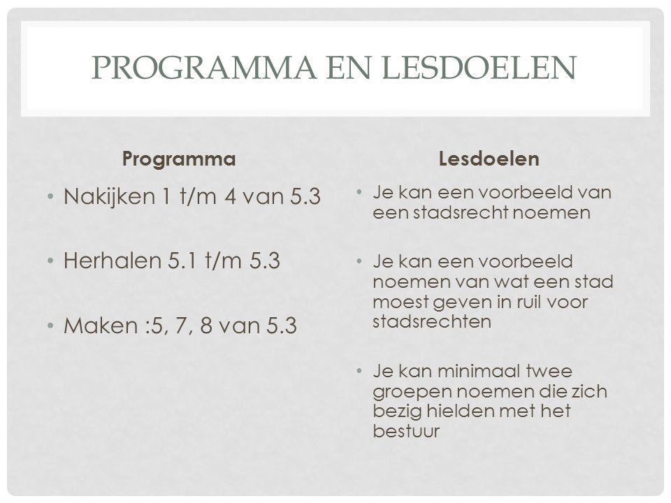 Programma en lesdoelen