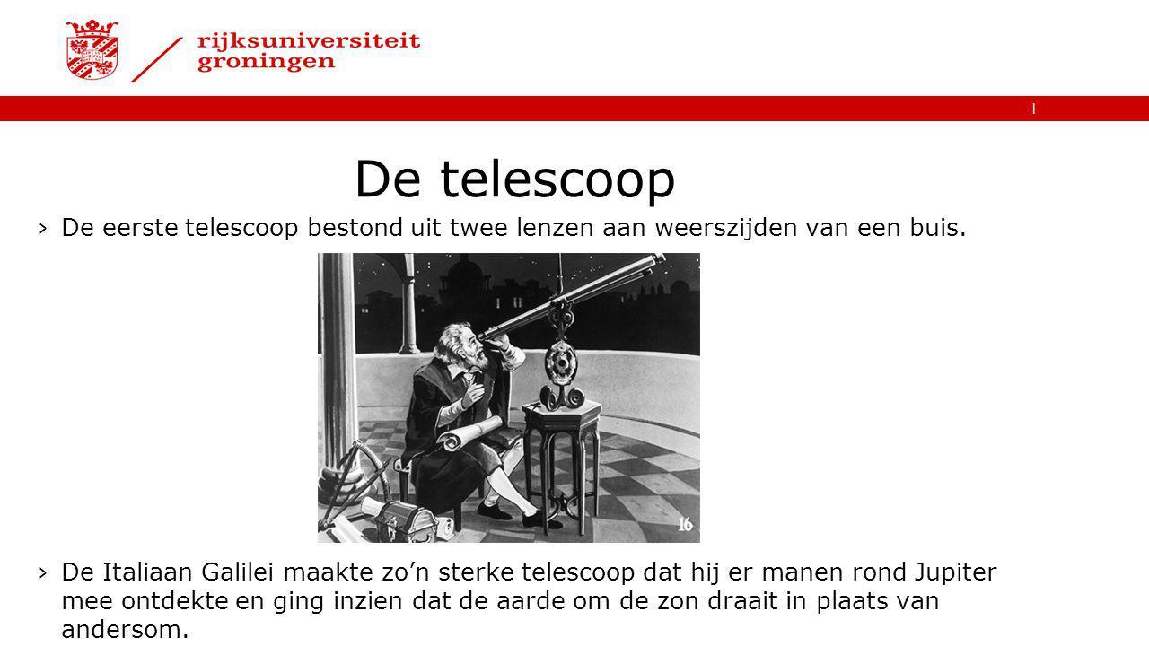 De telescoop De eerste telescoop bestond uit twee lenzen aan weerszijden van een buis.