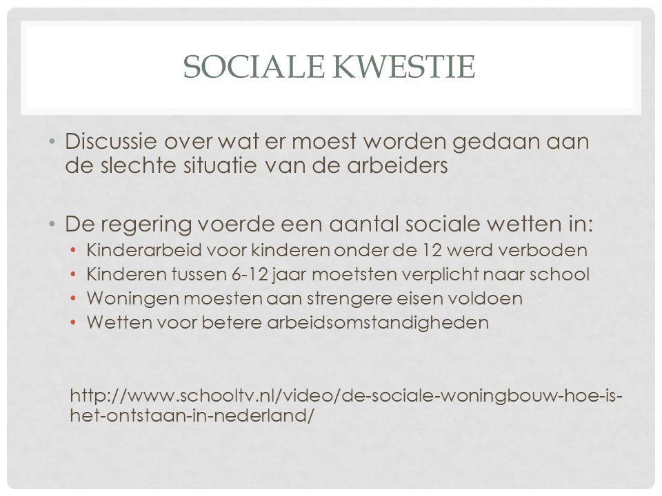 Sociale kwestie Discussie over wat er moest worden gedaan aan de slechte situatie van de arbeiders.