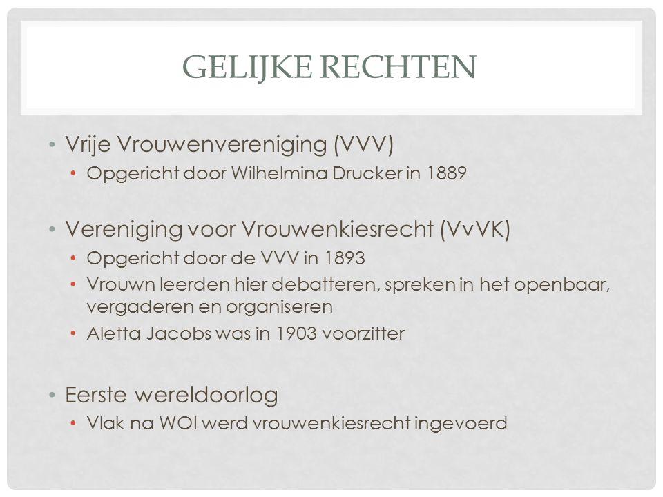 Gelijke rechten Vrije Vrouwenvereniging (VVV)