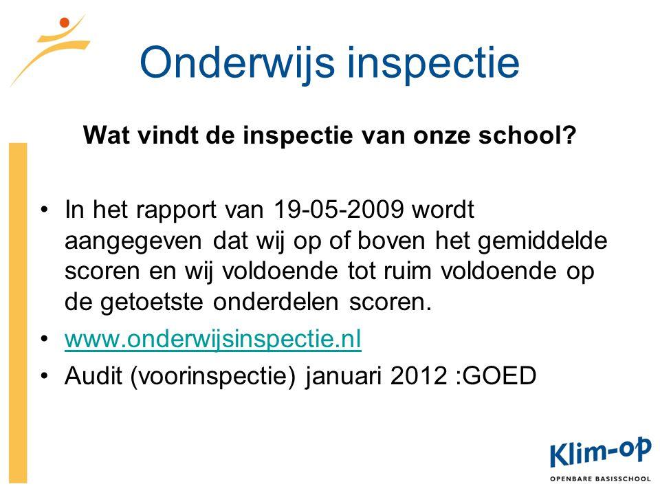 Wat vindt de inspectie van onze school