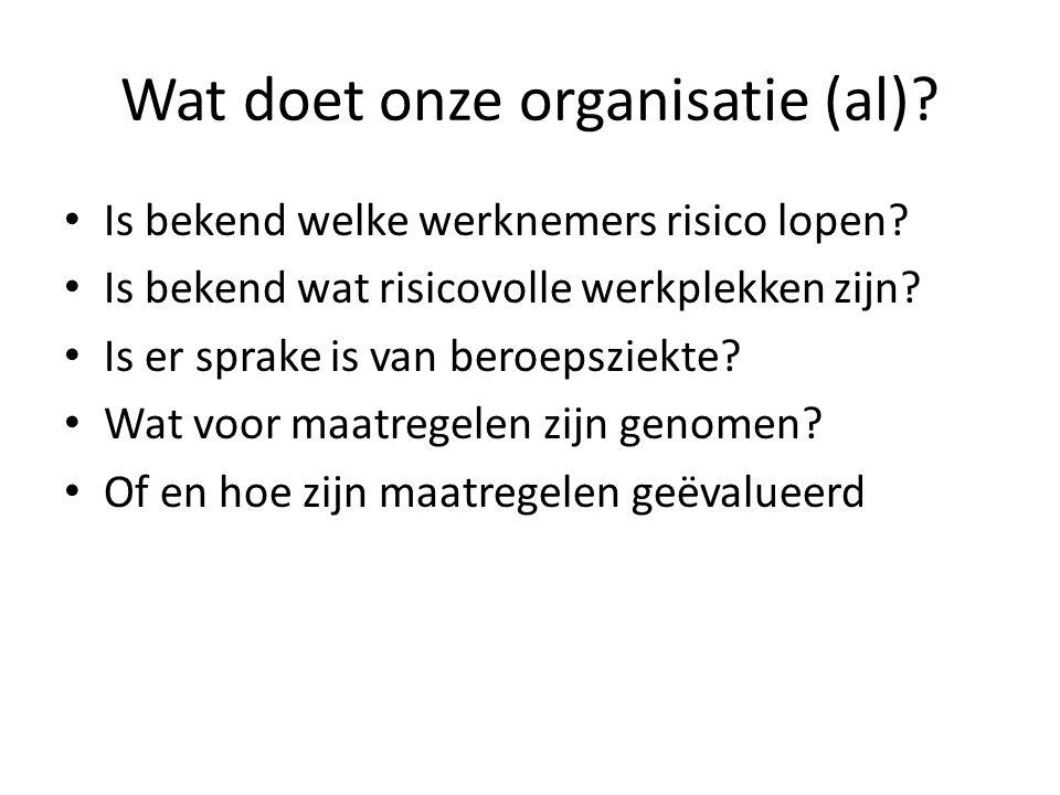 Wat doet onze organisatie (al)