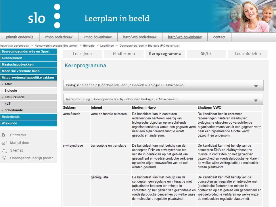 Kernprogramma Leerlijnen Eindtermen Kernprogramma SE/CE Leermiddelen