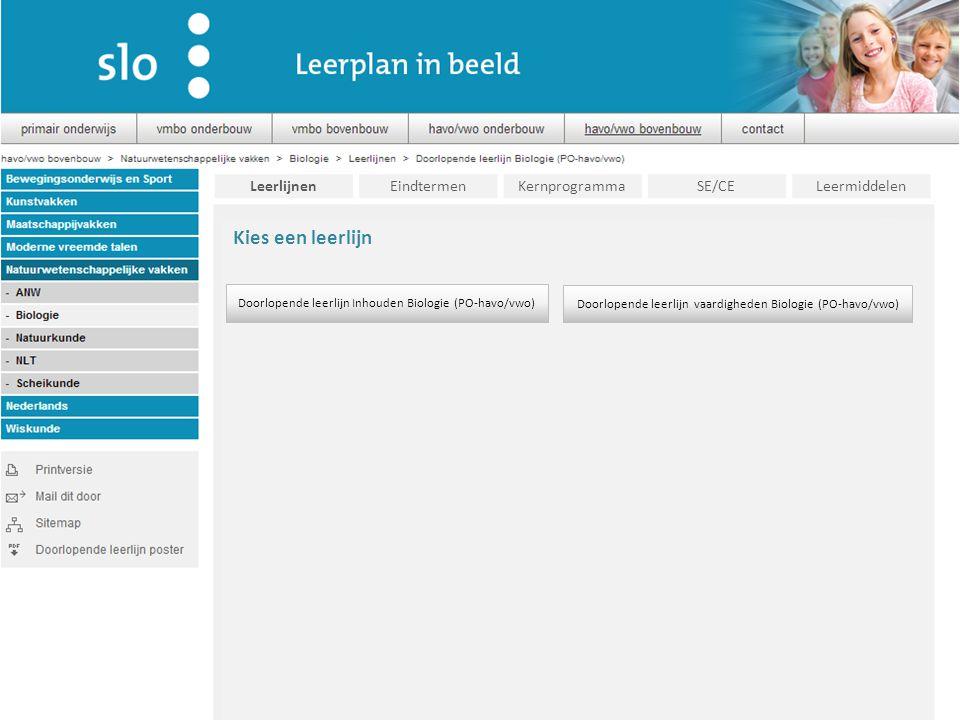 Kies een leerlijn Leerlijnen Eindtermen Kernprogramma SE/CE