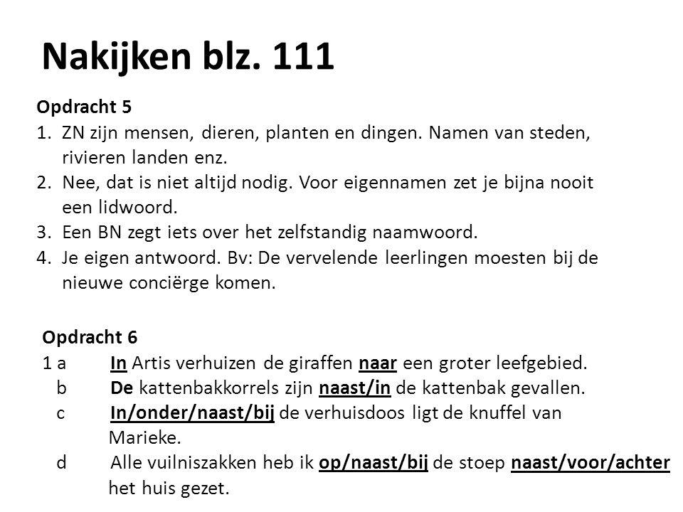 Nakijken blz. 111 Opdracht 5. ZN zijn mensen, dieren, planten en dingen. Namen van steden, rivieren landen enz.