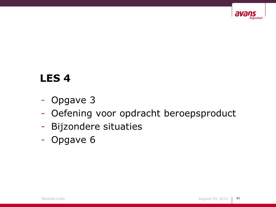 LES 4 Opgave 3 Oefening voor opdracht beroepsproduct