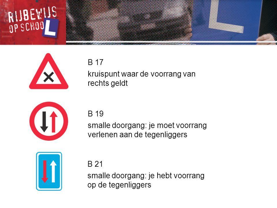 B 17 kruispunt waar de voorrang van rechts geldt. B 19. smalle doorgang: je moet voorrang verlenen aan de tegenliggers.