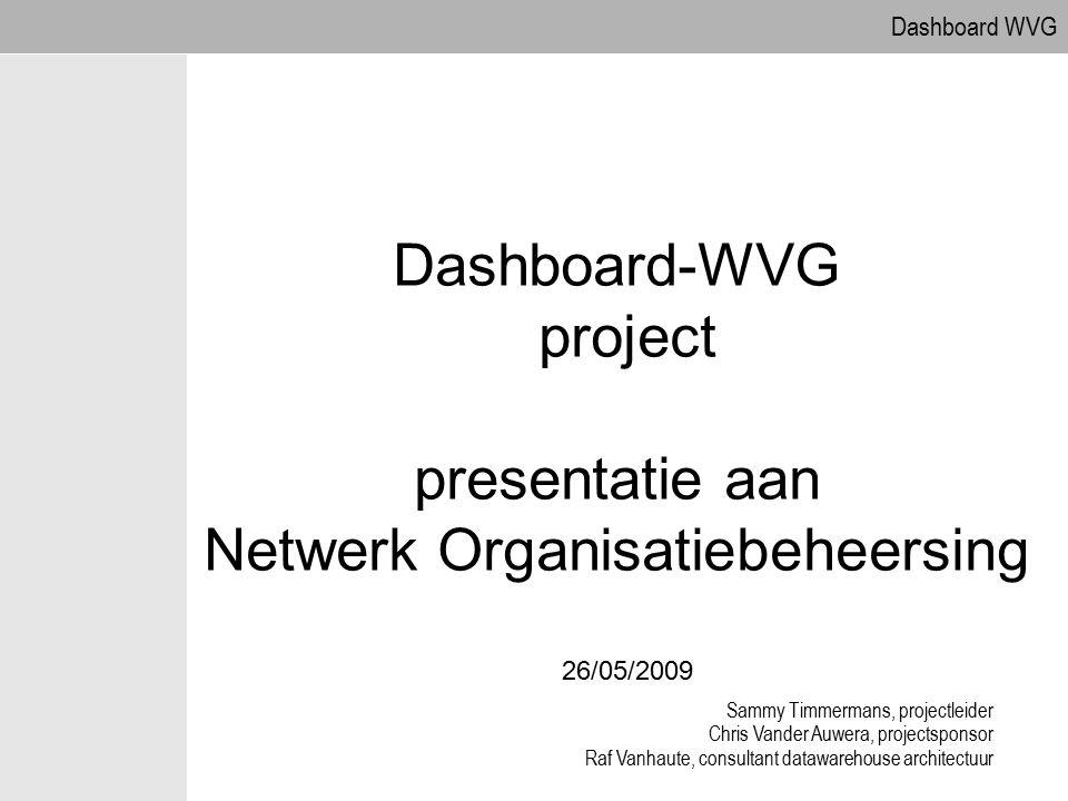 09.04.2017 Dashboard-WVG project presentatie aan Netwerk Organisatiebeheersing 26/05/2009. Sammy Timmermans, projectleider.