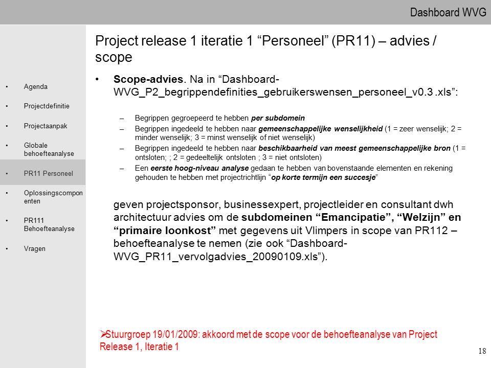 Project release 1 iteratie 1 Personeel (PR11) – advies / scope