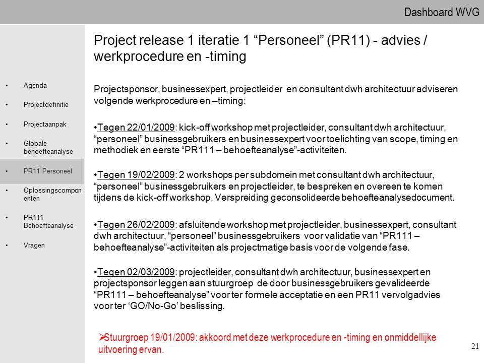 09.04.2017 Project release 1 iteratie 1 Personeel (PR11) - advies / werkprocedure en -timing.