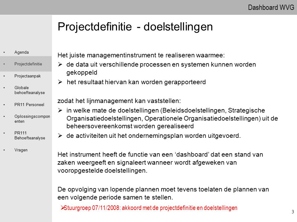 Projectdefinitie - doelstellingen