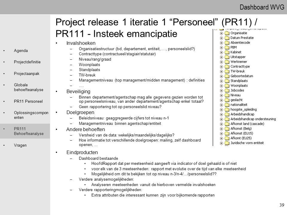 09.04.2017 Project release 1 iteratie 1 Personeel (PR11) / PR111 - Insteek emancipatie. Invalshoeken.