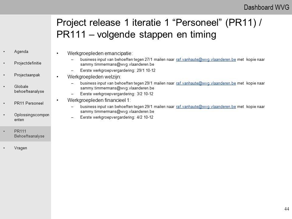 09.04.2017 Project release 1 iteratie 1 Personeel (PR11) / PR111 – volgende stappen en timing. Werkgroepleden emancipatie: