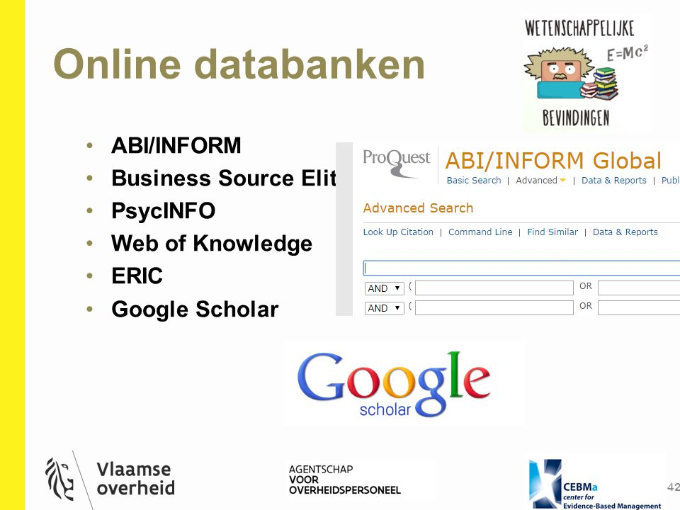 Online databanken ABI/INFORM Business Source Elite PsycINFO