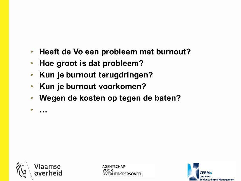 Heeft de Vo een probleem met burnout