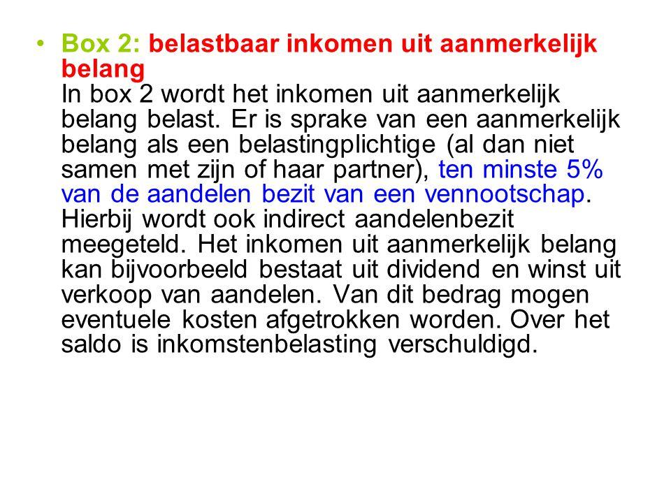 Box 2: belastbaar inkomen uit aanmerkelijk belang In box 2 wordt het inkomen uit aanmerkelijk belang belast.
