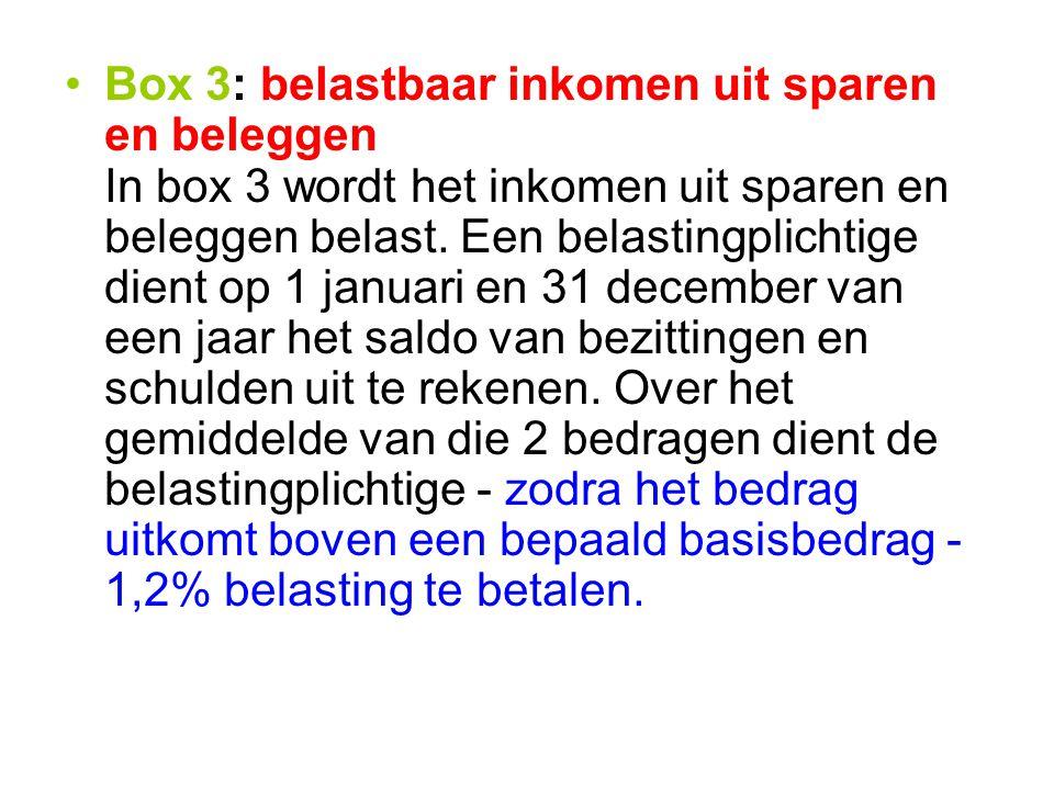 Box 3: belastbaar inkomen uit sparen en beleggen In box 3 wordt het inkomen uit sparen en beleggen belast.