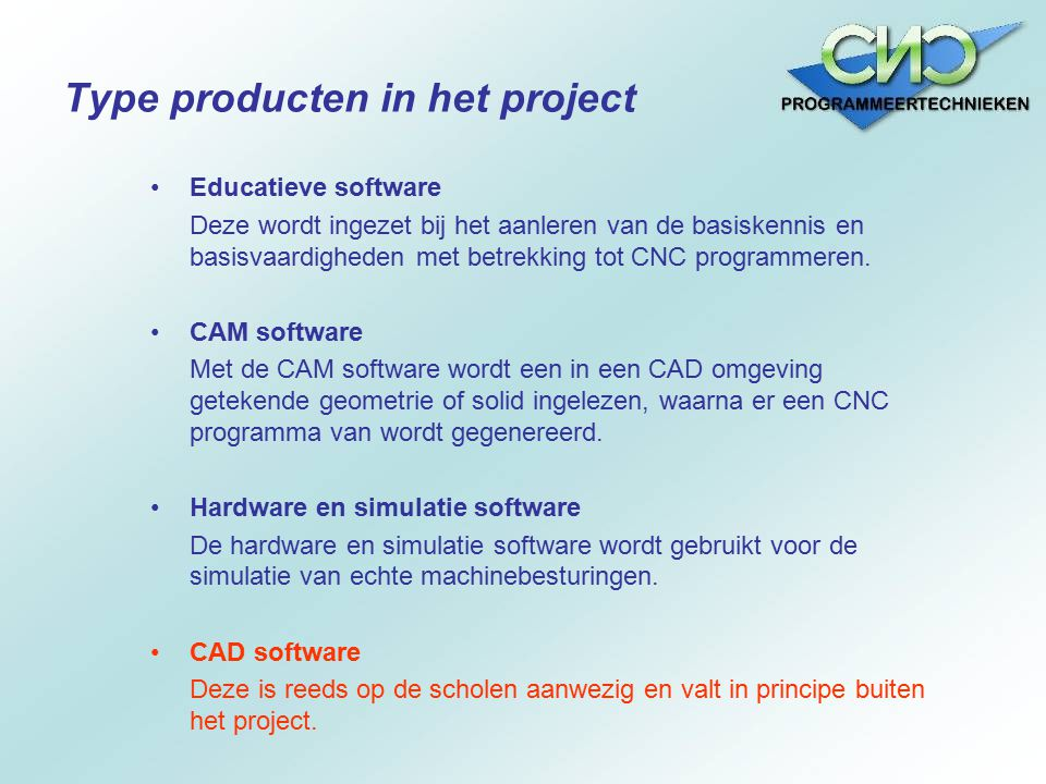 Type producten in het project