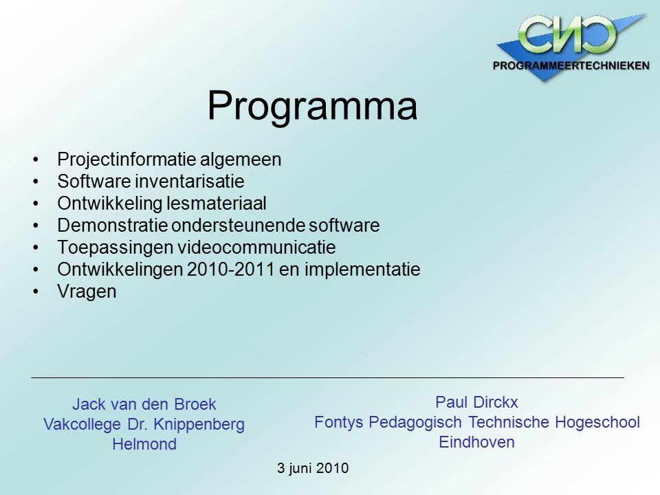 Programma Projectinformatie algemeen Software inventarisatie