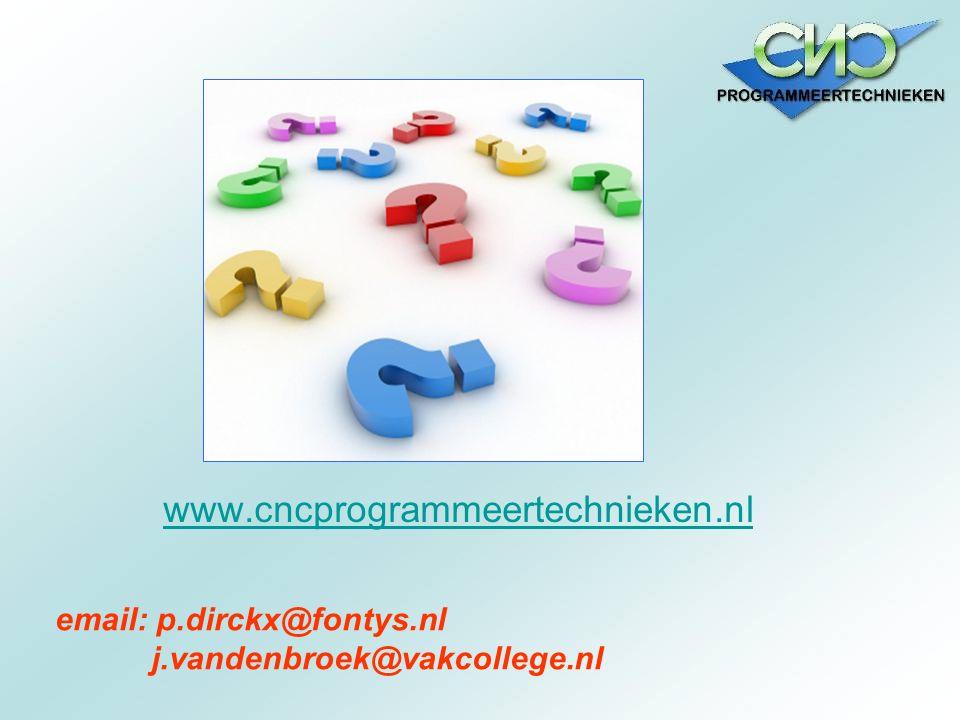 www.cncprogrammeertechnieken.nl email: p.dirckx@fontys.nl