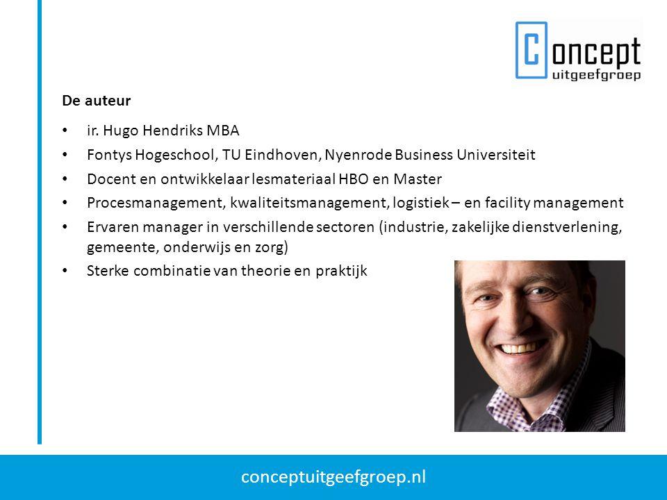 De auteur ir. Hugo Hendriks MBA. Fontys Hogeschool, TU Eindhoven, Nyenrode Business Universiteit. Docent en ontwikkelaar lesmateriaal HBO en Master.