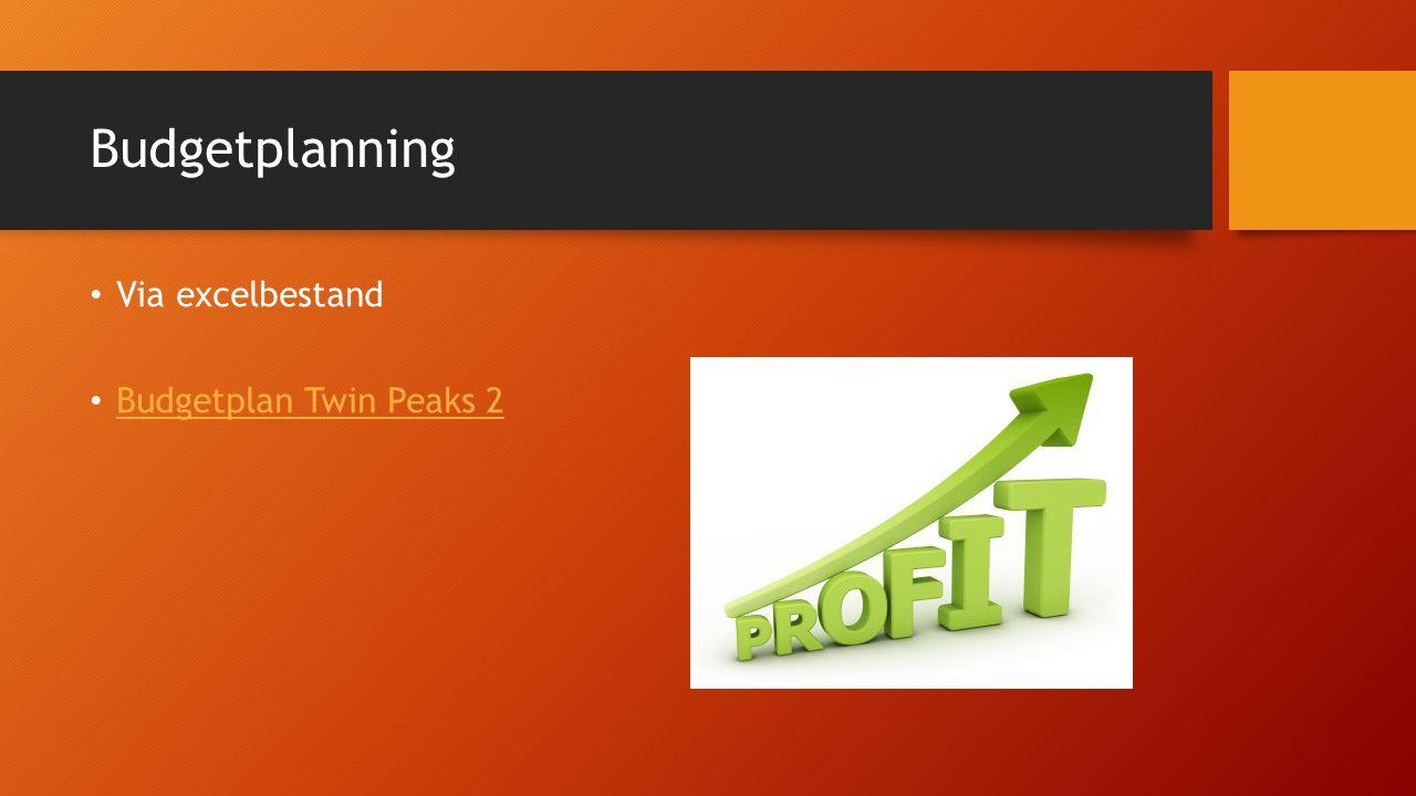 Budgetplanning Via excelbestand Budgetplan Twin Peaks 2