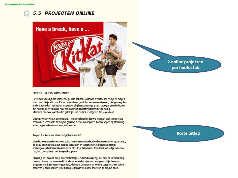 2 online projecten per hoofdstuk Korte uitleg