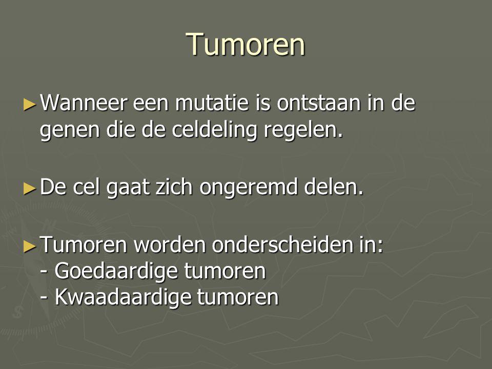 Tumoren Wanneer een mutatie is ontstaan in de genen die de celdeling regelen. De cel gaat zich ongeremd delen.