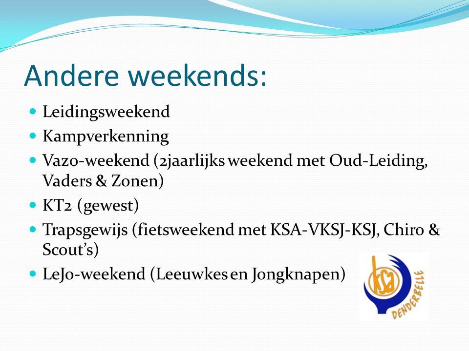 Andere weekends: Leidingsweekend Kampverkenning