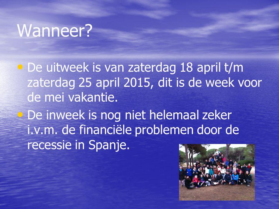 Wanneer De uitweek is van zaterdag 18 april t/m zaterdag 25 april 2015, dit is de week voor de mei vakantie.