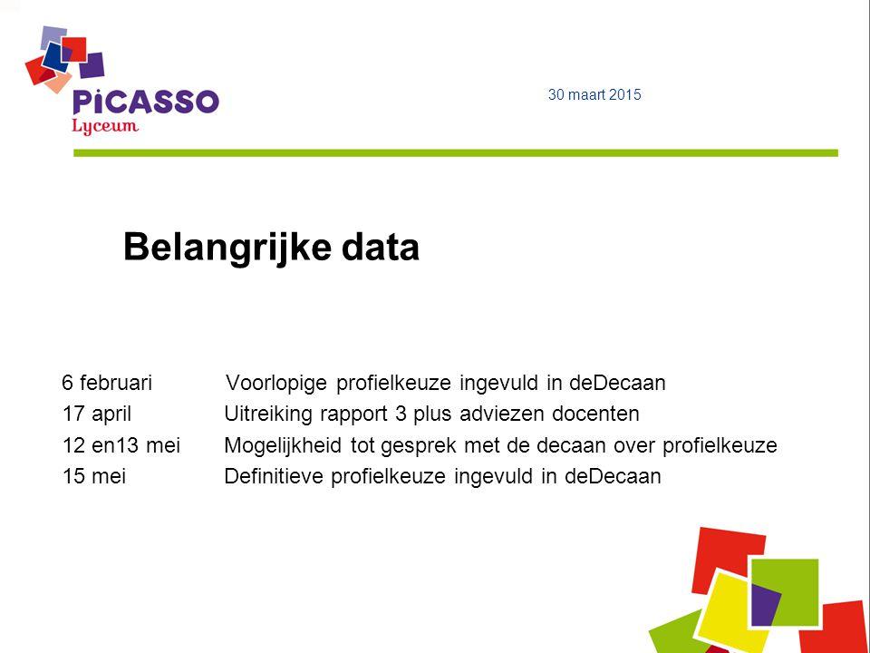 9 april 2017 Belangrijke data. 6 februari Voorlopige profielkeuze ingevuld in deDecaan.