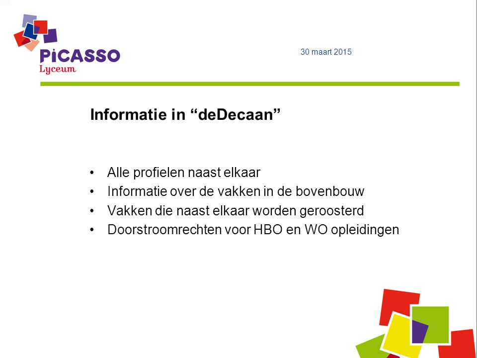 Informatie in deDecaan