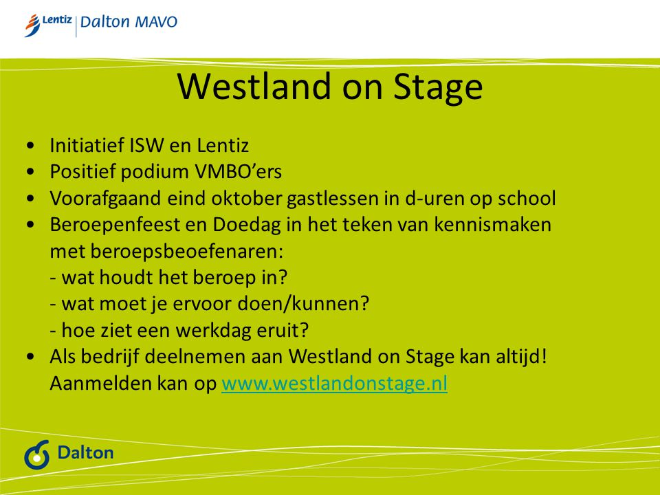 Westland on Stage Initiatief ISW en Lentiz Positief podium VMBO'ers