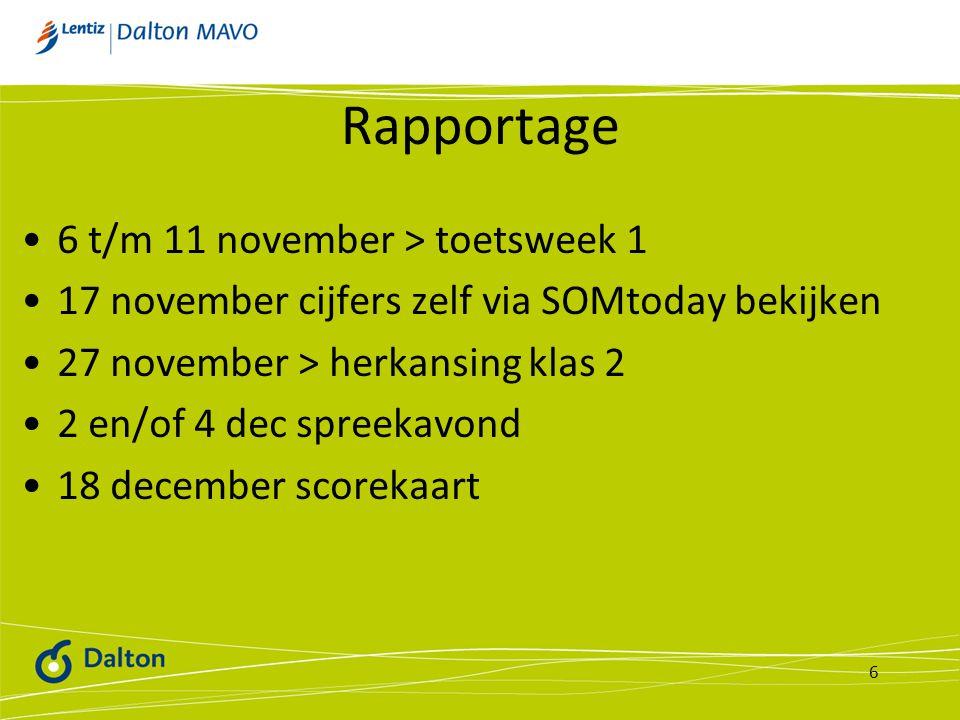 Rapportage 6 t/m 11 november > toetsweek 1