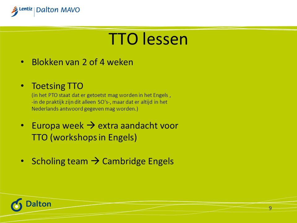 TTO lessen Blokken van 2 of 4 weken