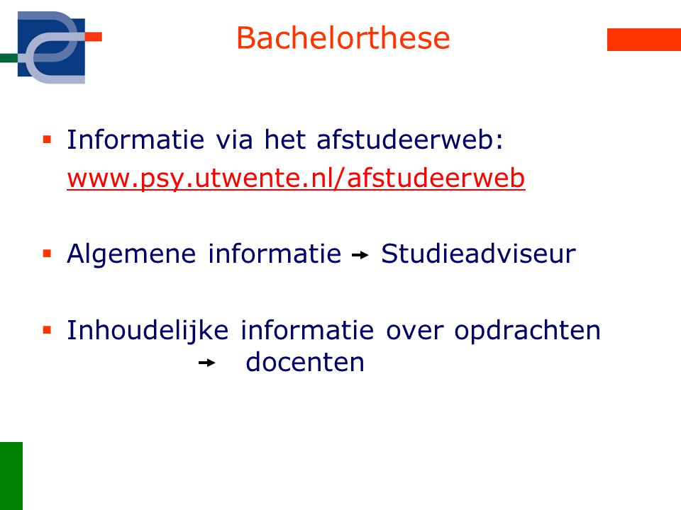 Bachelorthese Informatie via het afstudeerweb: