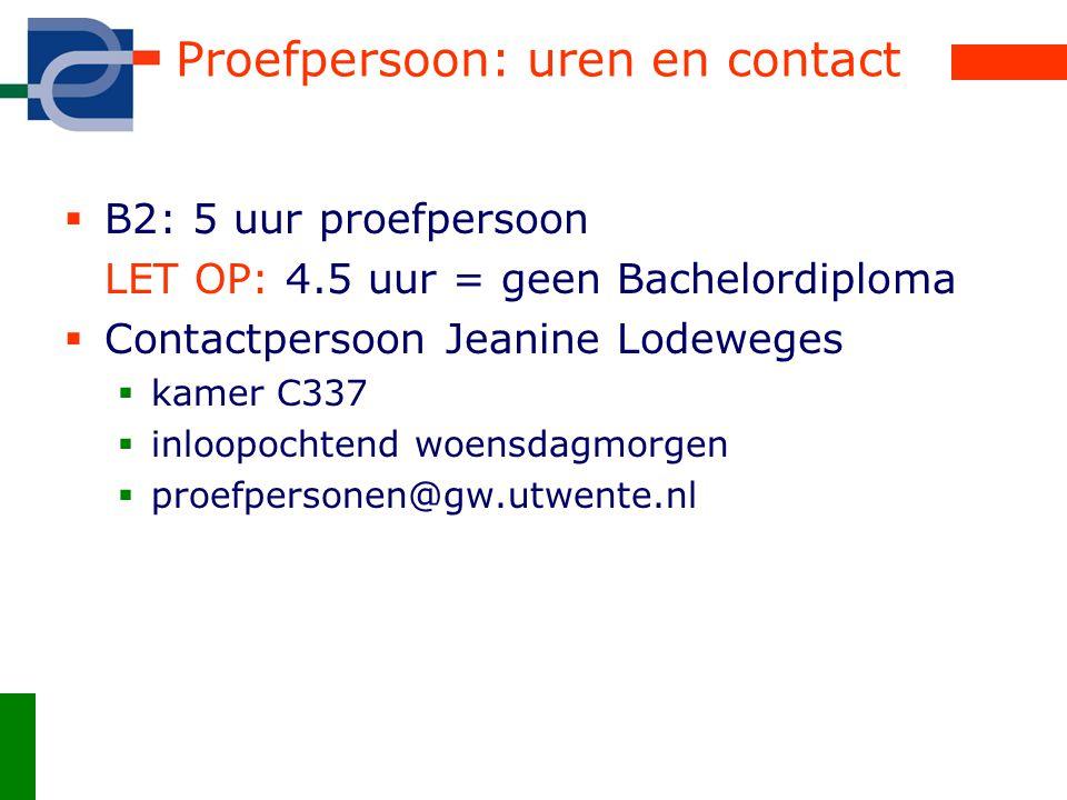 Proefpersoon: uren en contact