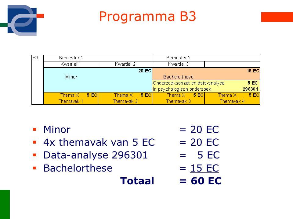Programma B3 Minor = 20 EC 4x themavak van 5 EC = 20 EC