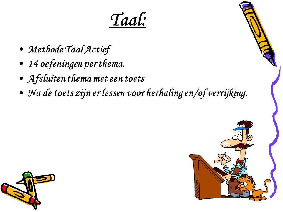 Taal: Methode Taal Actief 14 oefeningen per thema.