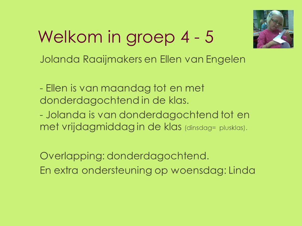 Welkom in groep 4 - 5