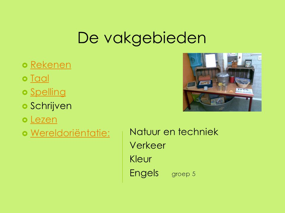 De vakgebieden Rekenen Taal Spelling Schrijven Lezen Wereldoriëntatie: