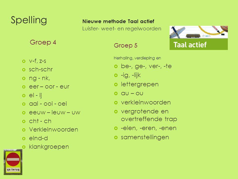 Spelling Nieuwe methode Taal actief Luister- weet- en regelwoorden