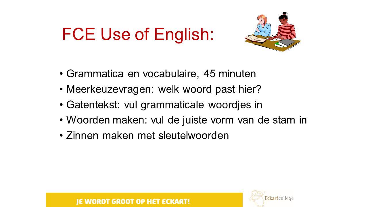 FCE Use of English: Grammatica en vocabulaire, 45 minuten