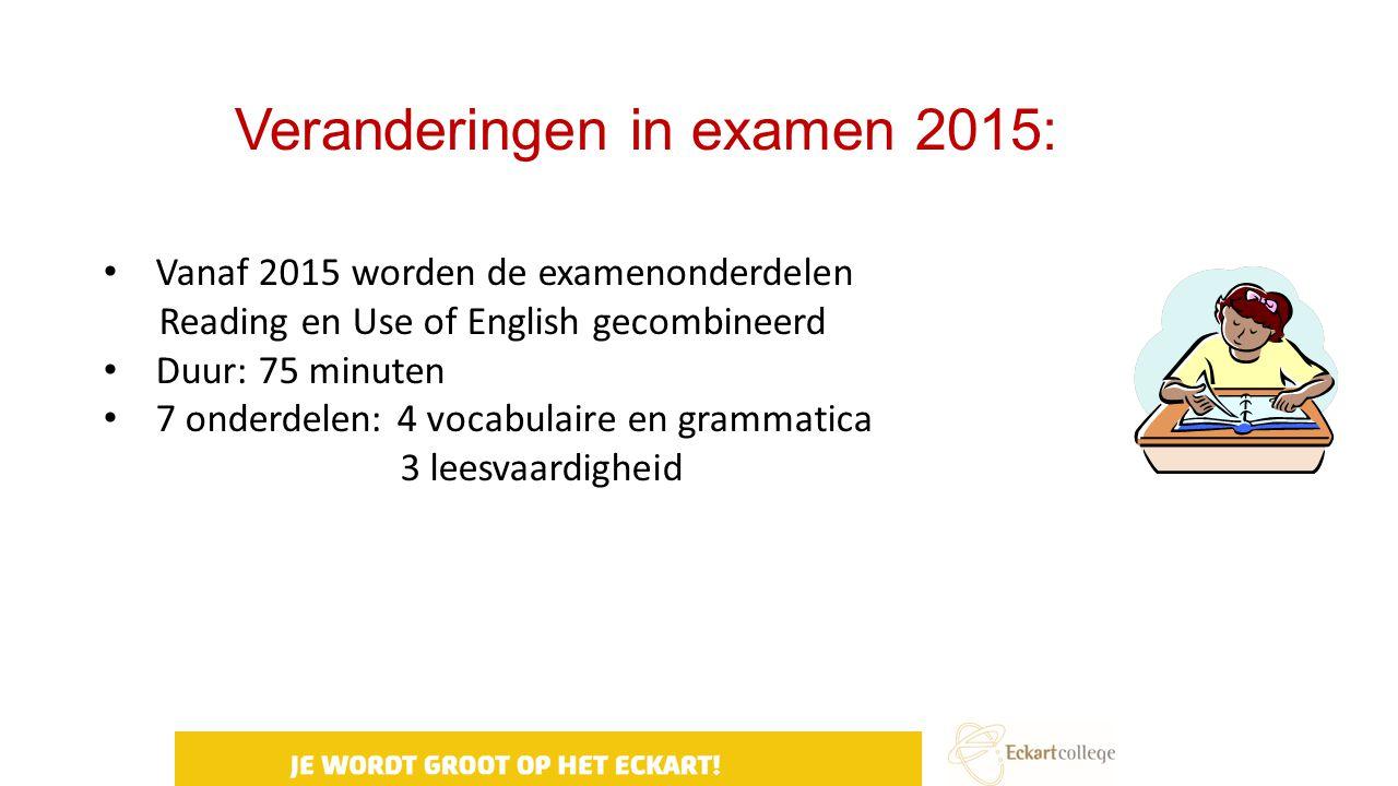 Veranderingen in examen 2015: