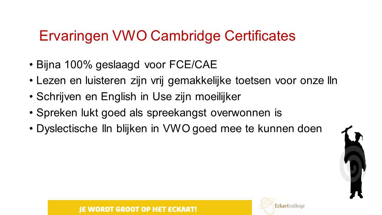 Ervaringen VWO Cambridge Certificates