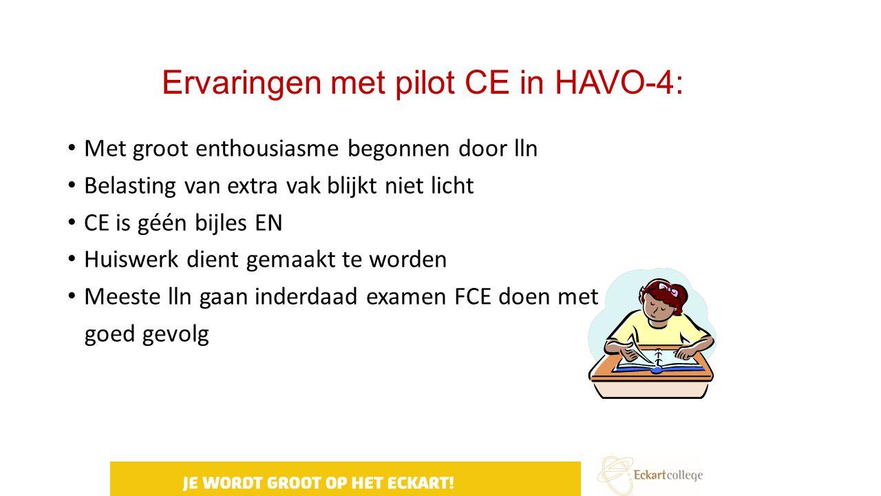 Ervaringen met pilot CE in HAVO-4: