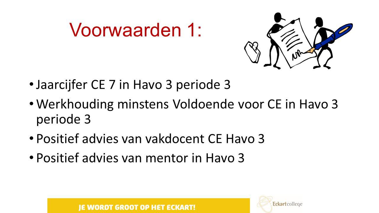 Voorwaarden 1: Jaarcijfer CE 7 in Havo 3 periode 3