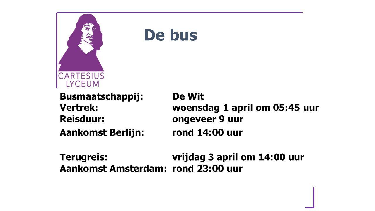 De bus Busmaatschappij: De Wit Vertrek: woensdag 1 april om 05:45 uur Reisduur: ongeveer 9 uur.